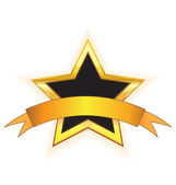 Gold star with gold ribbon — Stock Vector