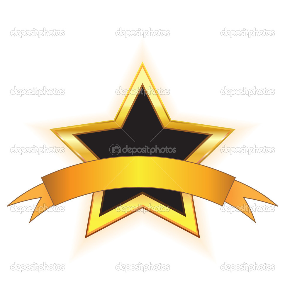 Gold star with gold ribbon.