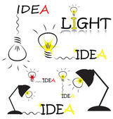 Set of vector sketch with bulb and idea words — Stock Vector
