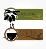 Tags with olive and coffee cup icons — Stock Vector