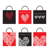 Set of Shoping Bags for valentine`s day — Stock Vector