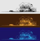 线框的小屋 — 图库矢量图片