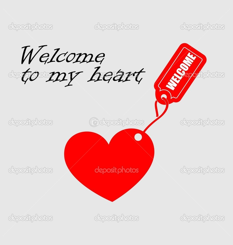 Background with heart and welcome tag on it   Stock Vector #5096334