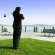 Stock Photo: Golfing businessman