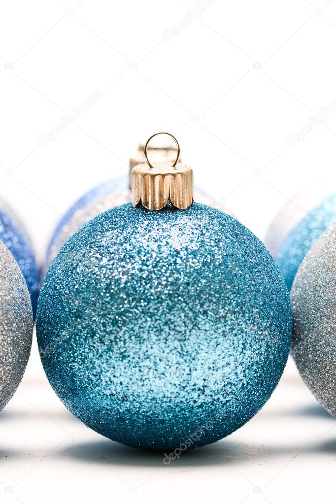 A shot of blue and silver christmas ornaments  Stock Photo #4113718