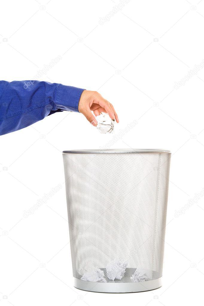 一名商人抛进垃圾桶废纸篓纸