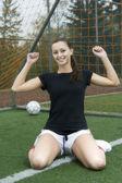 Happy soccer girl — Stock Photo