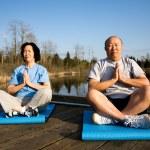 Senior couple meditating — Stock Photo