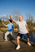 Senior exercise — Stock Photo