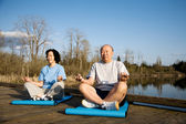 Senior couple exercise — Stock Photo