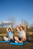 Senior couple exercise — Stock Photo