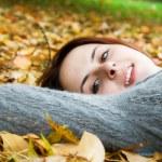 Caucasian girl in fall season — Stock Photo