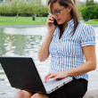 Working businesswoman outdoor — Stock Photo
