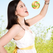 Woman and lollipop — Stock Photo