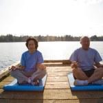 Senior asian couple exercising — Stock Photo #5453285