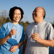 Stock Photo: Fun senior asian couple