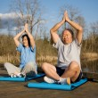Senior asian couple exercise — Stock fotografie