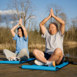 Stock Photo: Senior asian couple exercise