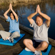 Senior asian couple exercising — Stok fotoğraf