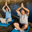 Senior asian couple exercising — Stock fotografie