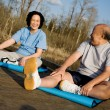 Asian senior couple exercise — Stock Photo