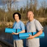 Senior asian couple exercise — Stock Photo