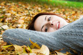 Caucasian girl in fall season — Stock Photo