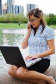 Working businesswoman outdoor — Stock Photo