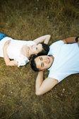 Happy and romantic asian couple — Stock Photo