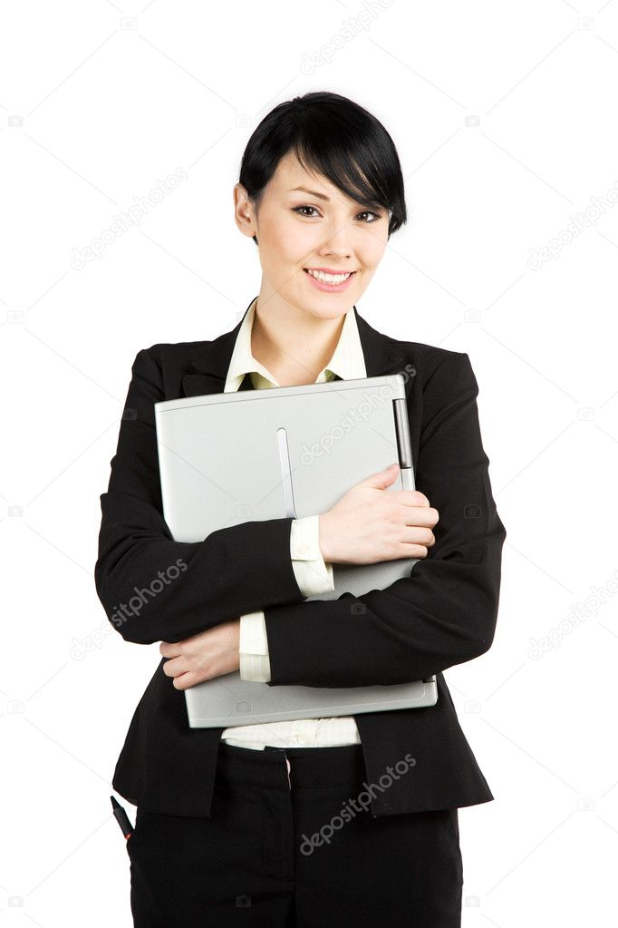 An isolated shot of a beautiful businesswoman carrying a laptop — Stock Photo #5453360