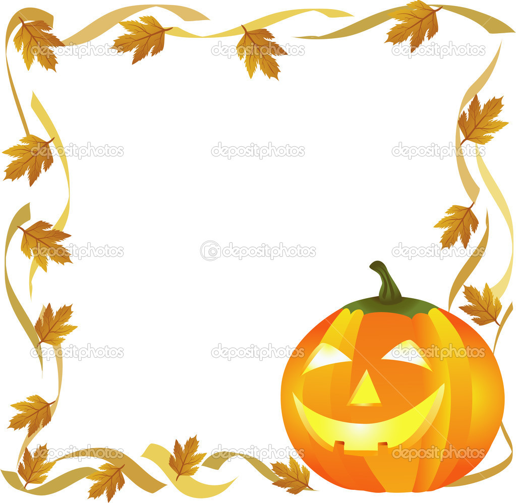 Halloween pumpkin and autumn leaves forming a frame — Stock Vector #4018899