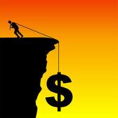 Businessman saving the dollar — Stock Photo