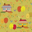 Seamless pattern with houses — Stock Vector
