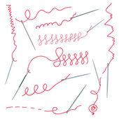 针头和线程集合 — 图库矢量图片