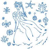 冬の落書き — ストックベクタ