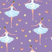 Ballerina seamless pattern — Stock Vector