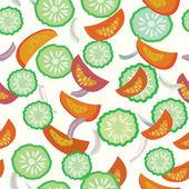 Komkommer en tomaat naadloze patroon — Stockvector