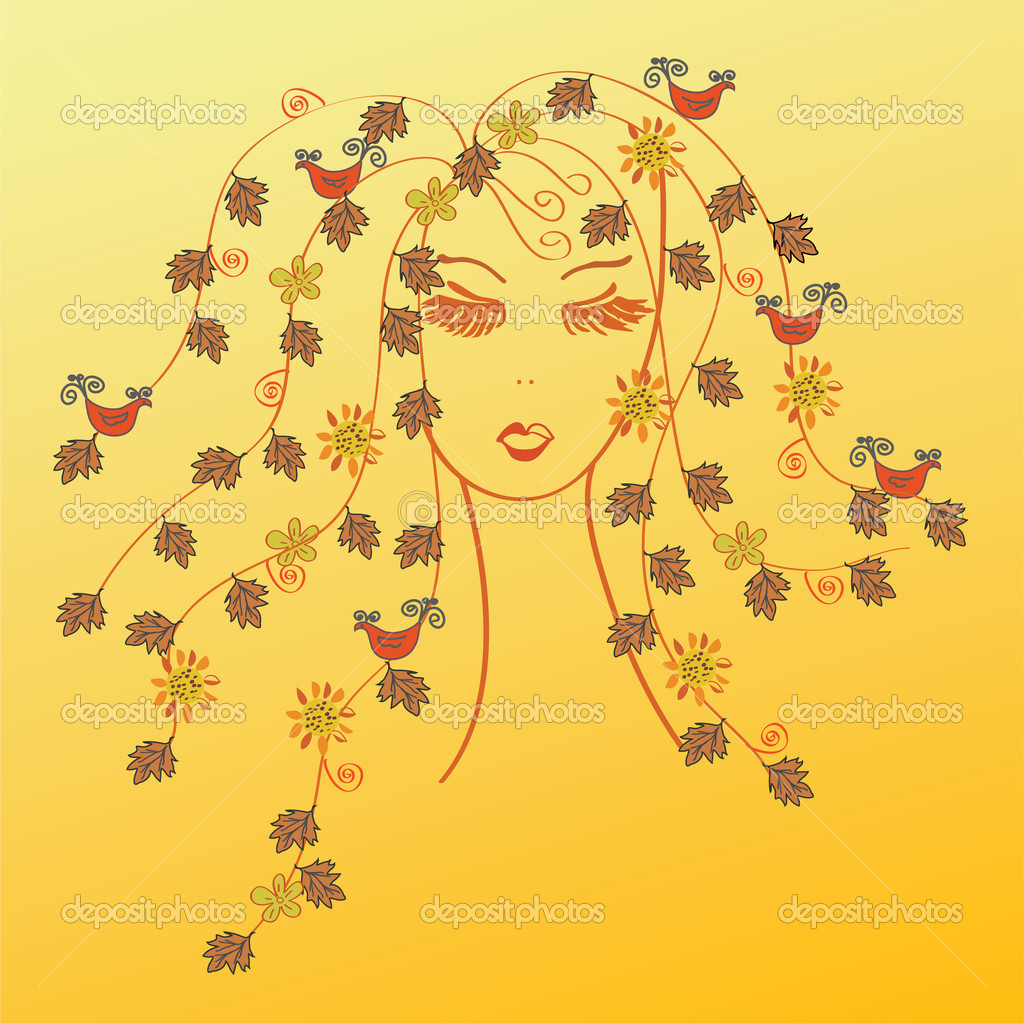 Fashion woman face with fall hair — Stock Vector #3997215