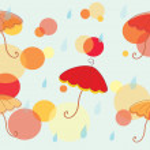 Autumn background with umbrella — Stock Vector