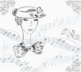 Musical invitation card with lady — Stock Vector