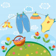 Baby laundry card for a boy - Stock Vector
