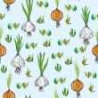 Royalty-Free Stock Vector Image: Seamless pattern with garlic, onion
