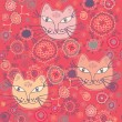 Stock Vector: Seamless pattern with cats