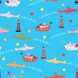 Tourism funny seamless pattern — Stock Vector
