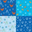 Royalty-Free Stock Vector: Seamless holidays pattern set
