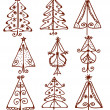 Royalty-Free Stock Vectorielle: Christmas trees funny doodle