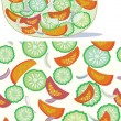 Royalty-Free Stock Vector Image: Salad bowl and seamless pattern