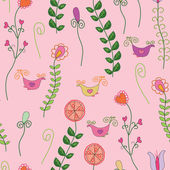 Romantic seamless pattern with flowers — ストックベクタ