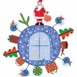 Royalty-Free Stock Imagem Vetorial: Christmas decoration with santa claus