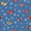 Seamless holiday pattern with birds - Stock Vector